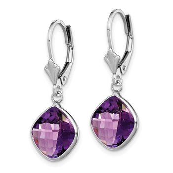 Sterling Silver Rhodium-plated Amethyst Dangle Lever Back Earrings