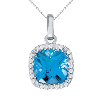 14K White Gold Blue Topaz Cushion Pendant with Diamonds
