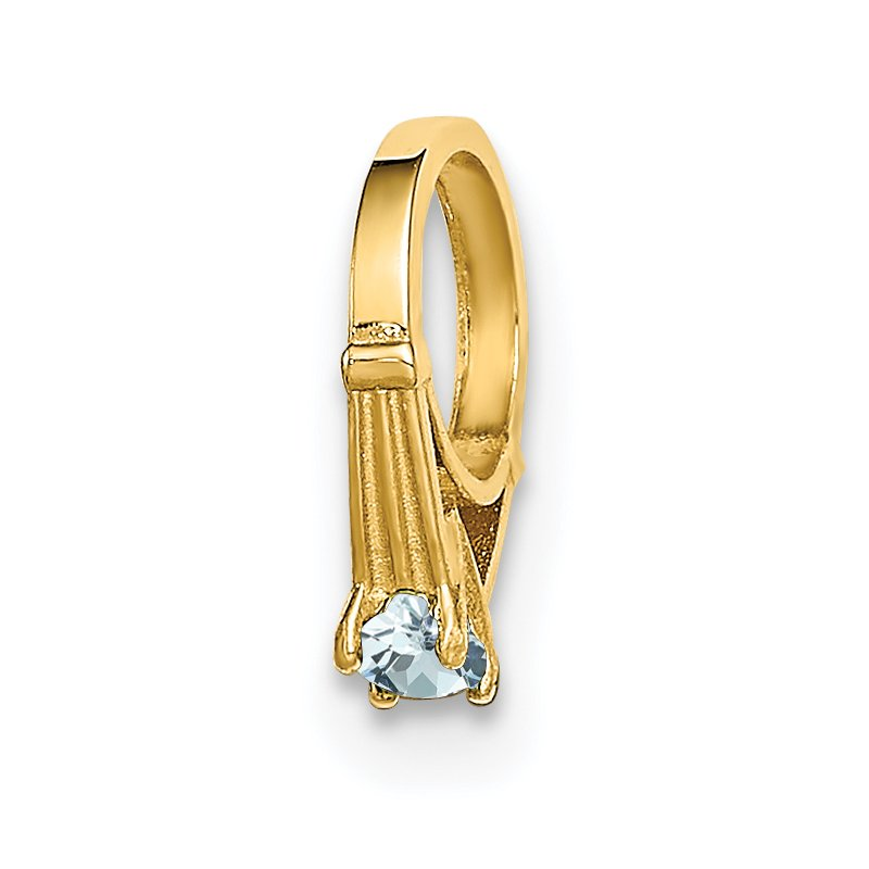 Quality Gold 14K 3D Ring with Light Blue CZ Charm