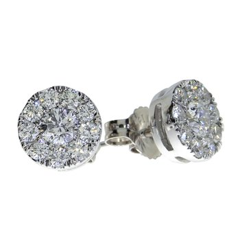 14K White Gold .75 ct Diamond Cluster Stud Earrings