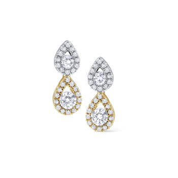 Diamond Double Teardrop Stud Earrings Set in 14 Kt. Gold