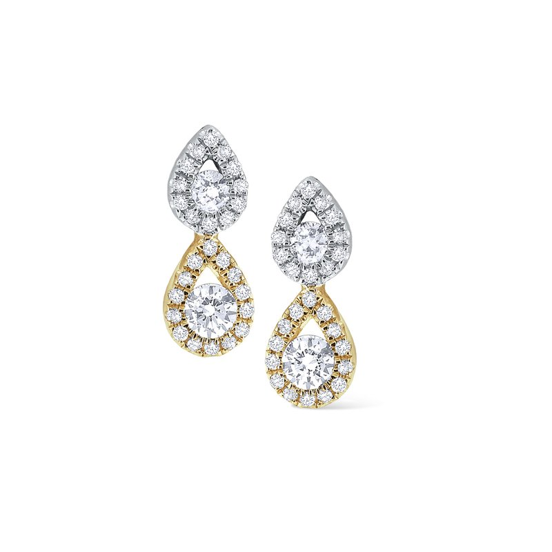 MAZZARESE Fashion Diamond Double Teardrop Stud Earrings Set in 14 Kt. Gold