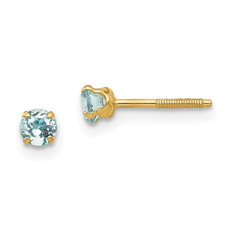 Quality Gold 14k Madi K 3mm Aquamarine Earrings