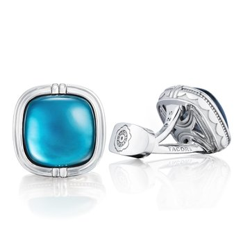 Cushion Cabochon Cuff Links featuring Sky Blue Topaz over Mother of Pearl