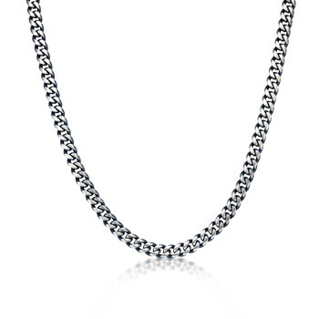 Stainless Steel Blue Ion Plated Thick Two Tone Curb Chain Necklace - 11 MM Wide, 24 Inches Length with Lobster Clasp