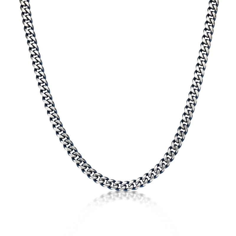 Lynx Stainless Steel Blue Ion Plated Thick Two Tone Curb Chain Necklace - 11 MM Wide, 24 Inches Length with Lobster Clasp