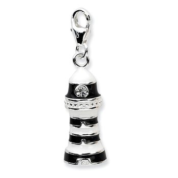 Sterling Silver 3-D Enameled Lighthousew/Lobster Clasp Charm