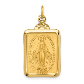 14k Solid Polished/Satin Rectangle w/Fan Top Miraculous Medal