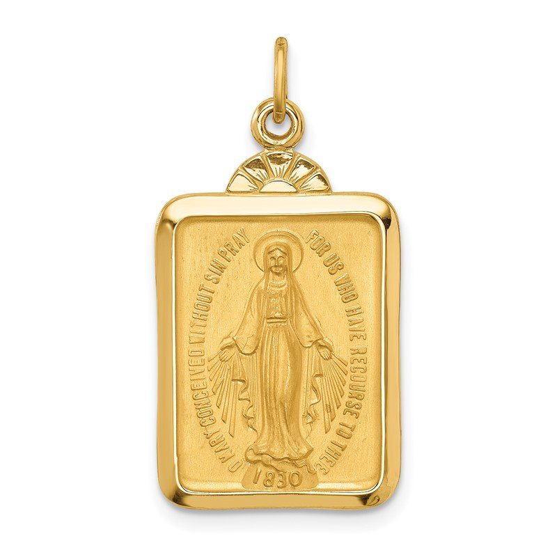 Quality Gold 14k Solid Polished/Satin Rectangle w/Fan Top Miraculous Medal