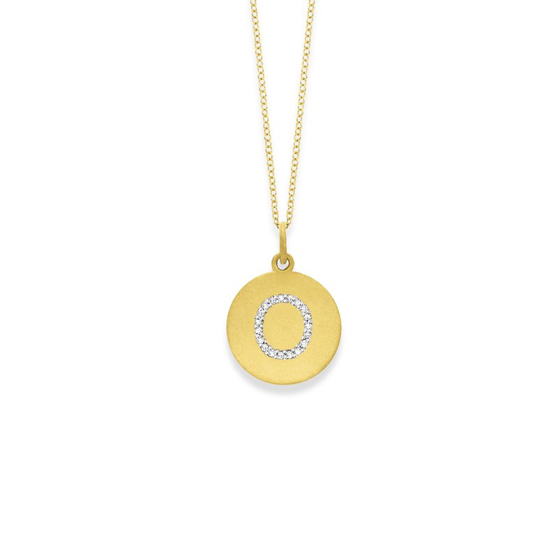 "MAZZARESE Fashion Diamond Disc Initial ""O"" Necklace in 14k Yellow Gold with 18 Diamonds weighing .09ct tw."