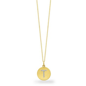 "Diamond Disc Initial ""T"" Necklace in 14k Yellow Gold with 10 Diamonds weighing .05ct tw."