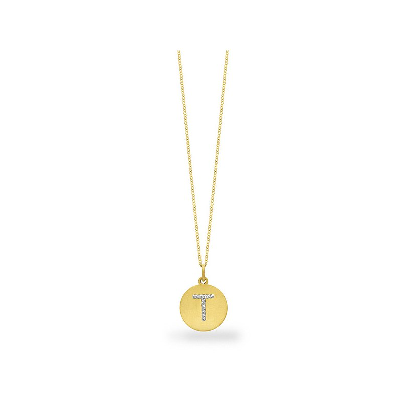 "MAZZARESE Fashion Diamond Disc Initial ""T"" Necklace in 14k Yellow Gold with 10 Diamonds weighing .05ct tw."