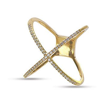 14K YG Diamond X Design Fashion Ring