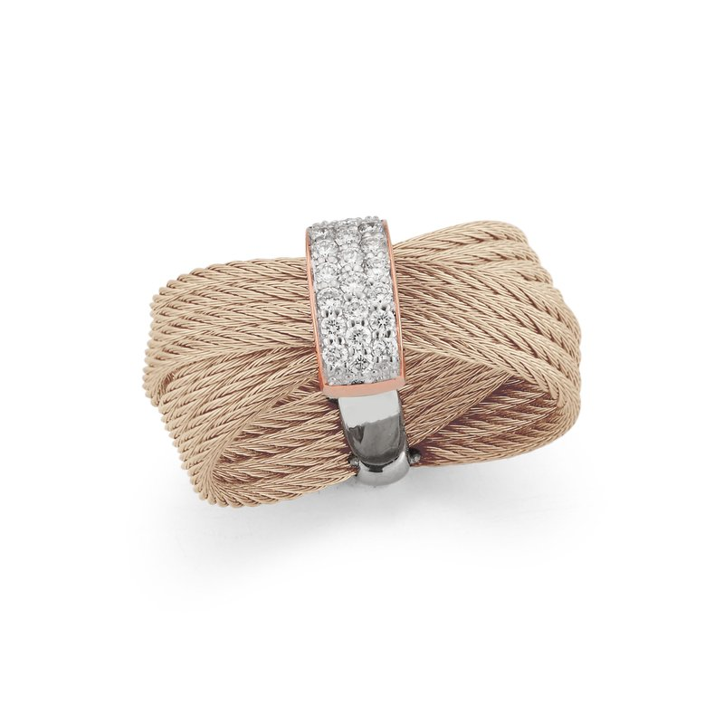 ALOR Carnation Cable Bow Ring with 18kt Rose Gold & Diamonds