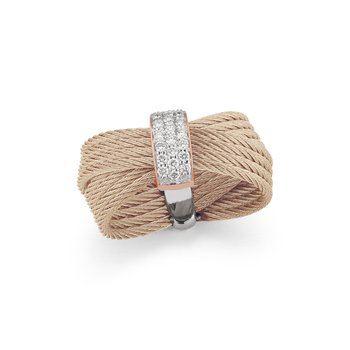 Carnation Cable Bow Ring with 18kt Rose Gold & Diamonds