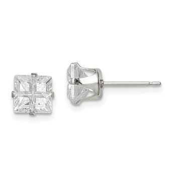 Sterling Silver 6mm Square Snap Set Cross-cut CZ Stud Earrings