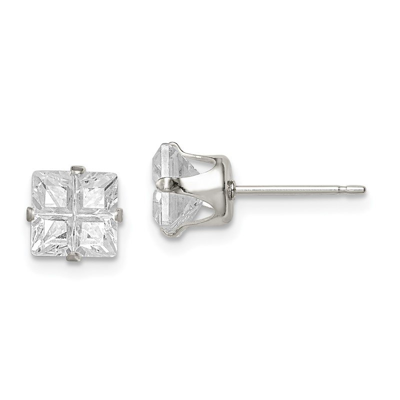 Quality Gold Sterling Silver 6mm Square Snap Set Cross-cut CZ Stud Earrings