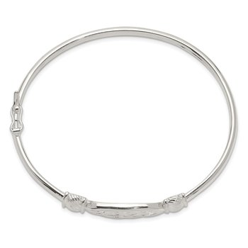 Sterling Silver Polished Celtic Flexible Bangle