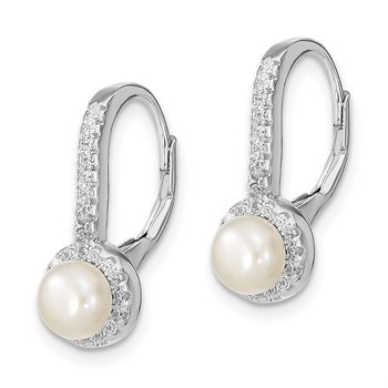 Sterling Silver Rhodium-plated 5-6mm Button FWC Pearl CZ Dangle Earrings
