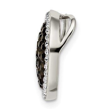 Sterling Silver Black and White Crystal Circle Chain Slide