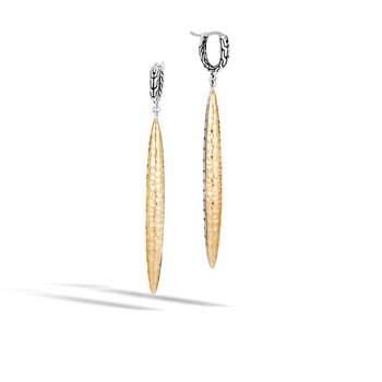 Classic Chain Spear Drop Earring, Silver, Hammered 18K Gold
