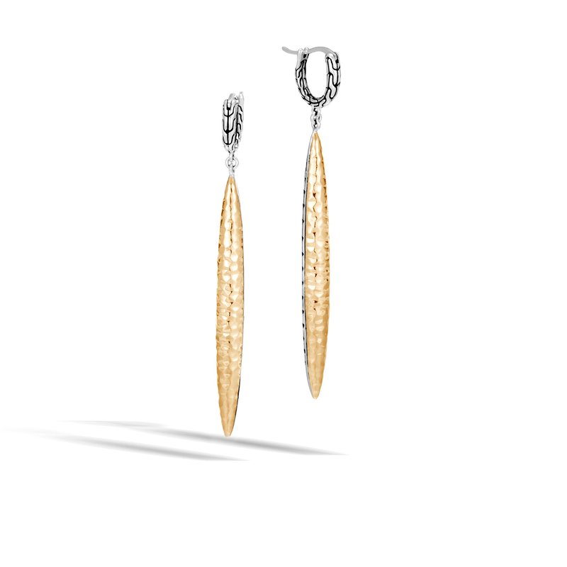 JOHN HARDY Classic Chain Spear Drop Earring, Silver, Hammered 18K Gold