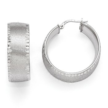 Leslie's SS Radiant Essence Rhodium-plated Hoop Earrings