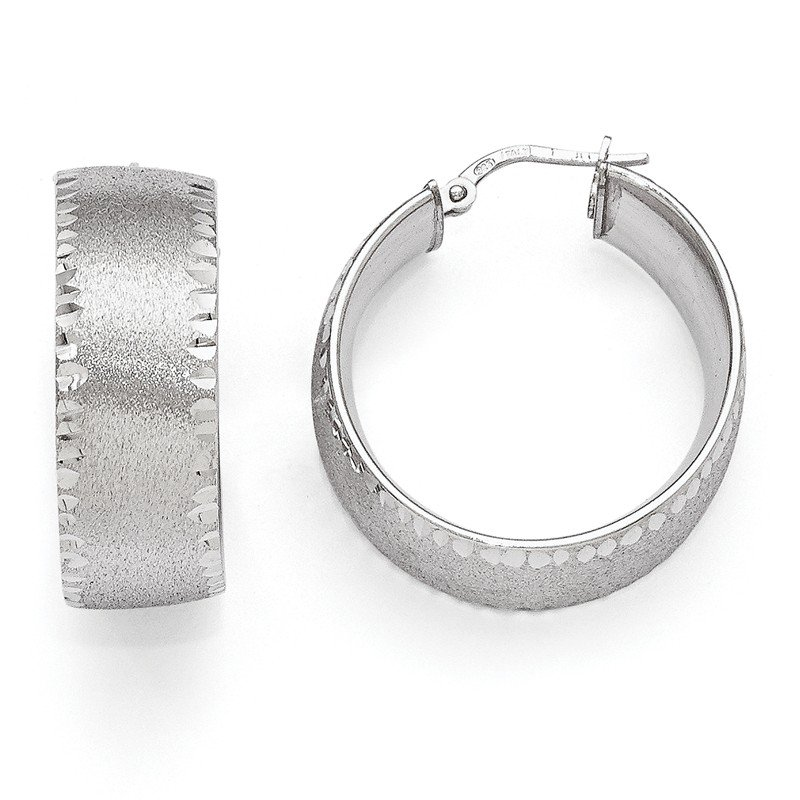Leslie's Leslie's SS Radiant Essence Rhodium-plated Hoop Earrings