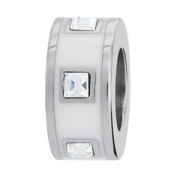 316L stainless steel, white enamel and Swarovski® Elements crystals