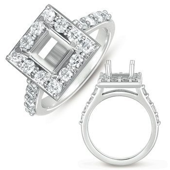 White Gold Halo Ring 6.0mm sqaure head