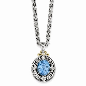 Sterling Silver w/14k Diamond & Blue Topaz Necklace