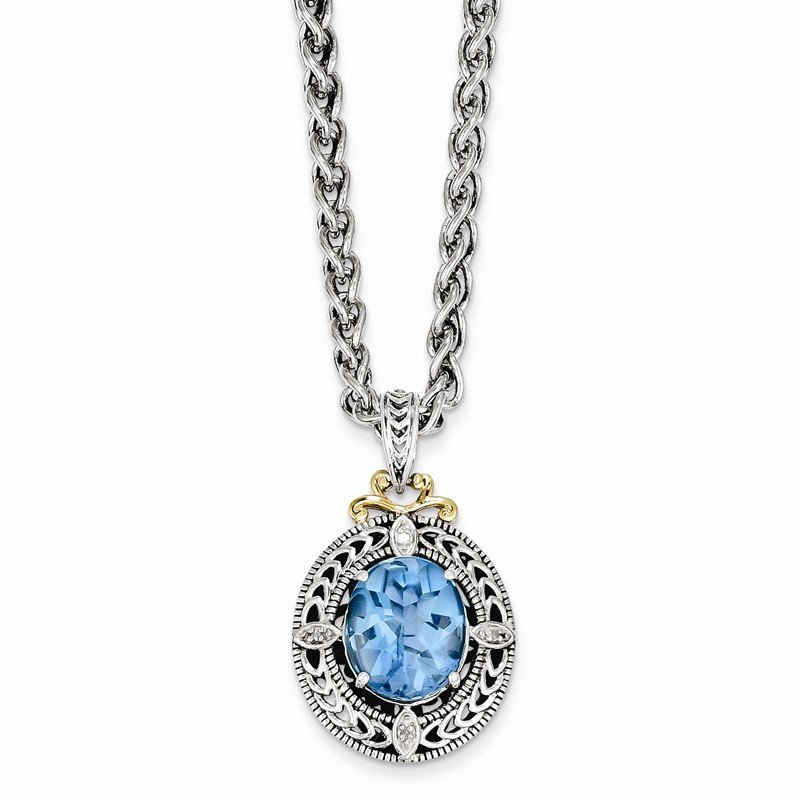 Shey Couture Sterling Silver w/14k Diamond & Blue Topaz Necklace