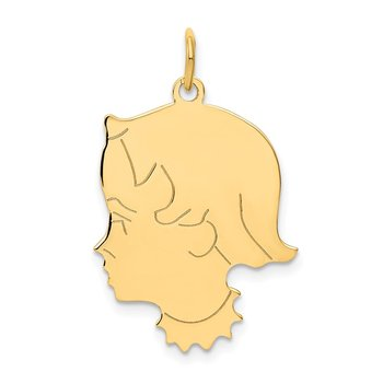 14k .013 Depth Engravable Girl Head Charm