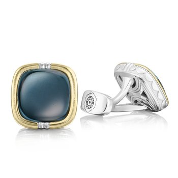 Cushion Cabochon Cuff Links featuring Sky Blue Hematite