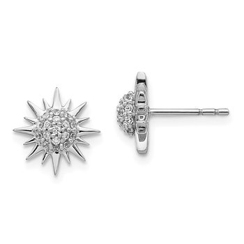 14k White Gold Diamond Fancy Sun Earrings