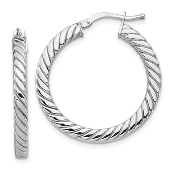 14k White Gold Polished & Twisted 3mm Square Tube Hoop Earrings