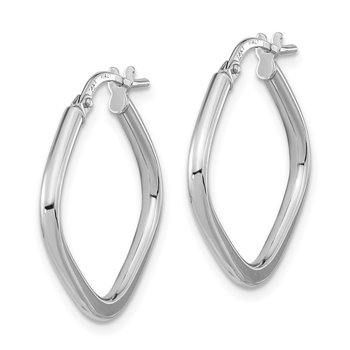 14k White Gold Polished Square Hoops