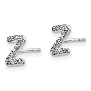 14k White Gold Diamond Initial Z Earrings