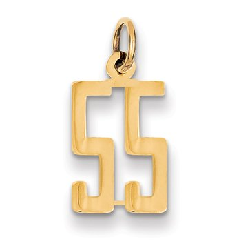 14k Small Polished Elongated 55 Charm