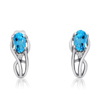 14K White Gold Curved Blue Topaz and Diamond Earrings