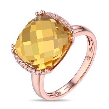Cushion Citrine Ring with Diamonds