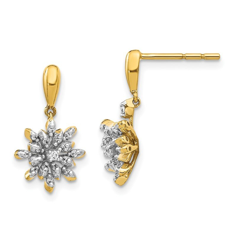 Quality Gold 14k Diamond Flower Post Dangle Earrings