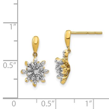 14k Diamond Flower Post Dangle Earrings