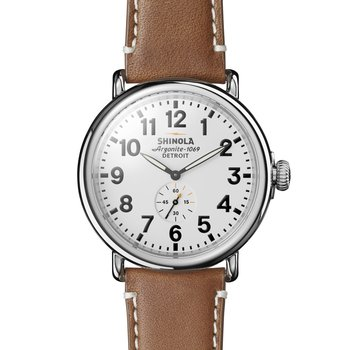 The Runwell 47mm Leather Strap White Dial Mens Watch