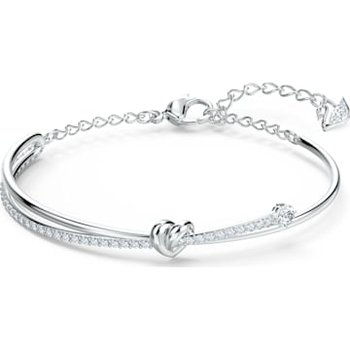 Lifelong Heart Bangle, White, Rhodium plated