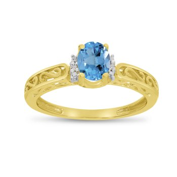 14k Yellow Gold Oval Blue Topaz And Diamond Ring