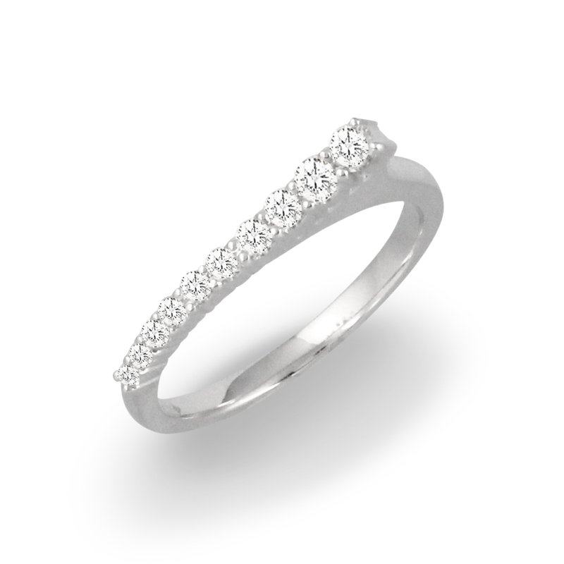 MAZZARESE Couture Graduated Bar Diamond Ring 18KW