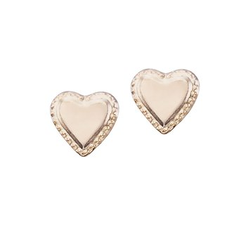 14K Yellow Gold Baby Heart Screwback Earrings