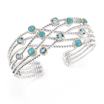 Sterling Silver and 14K Yellow Gold Bangle with Turquoise and Blue Topaz Stones