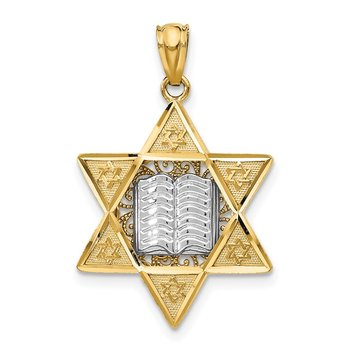 14k Two-tone Star of David Pendant